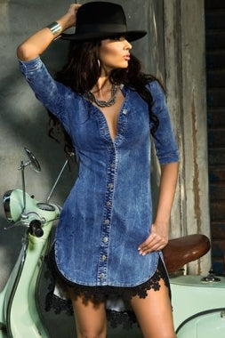 Women's Vintage Button Down Half Sleeve Denim Shirt Dress w/ Lace Trimmings