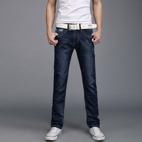 Men's Straight Skinny Denim Jeans w/ Basic Style Pockets - Erbana 88