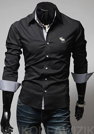 Men's Long Sleeve Slim Fit Formal Style Shirt w/ Embroidered Finish - Erbana 88