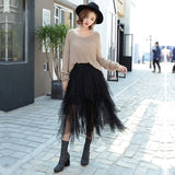 Women's High Waist Tulle Irregular Mesh Skirt - Erbana 88