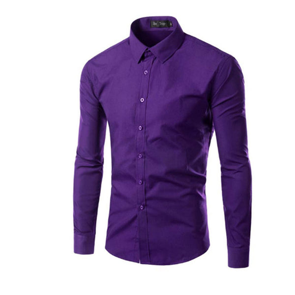 Men's Assorted Long Sleeve Solid Color Formal Shirt - Erbana 88