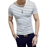 Men's Short Sleeve O-Neck Slim Fit Striped Tee w/ White Collar Lining - Erbana 88