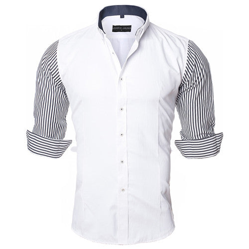 Men's Vintage Dual Color Long Striped Sleeve Shirt