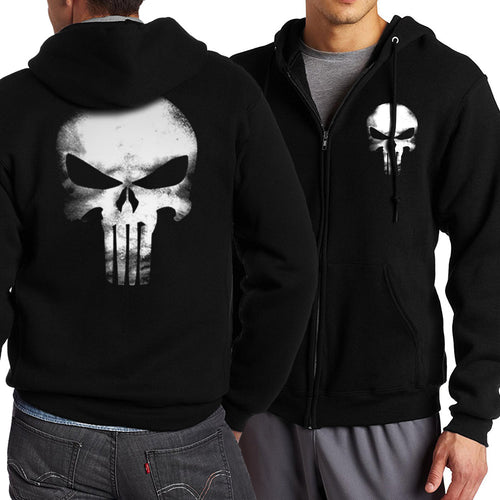 HAMPSON LANQUE Full V-Neck Zip Down Hoodie w/ Multiple Designs (The Punisher/Deadpool/The Flash STAR S.T.A.R. Labs/Batman) - Erbana 88