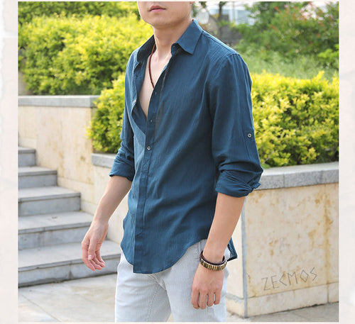 Men's Ultra Thin British Style Long Sleeve Slim Fit Shirt - Erbana 88
