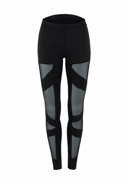 Women's Slim Fit Pencil Style Leggings w/ Mesh Patchwork - Erbana 88