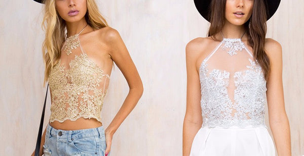Women's Lace Embroidery Cropped Halter Top - Erbana 88