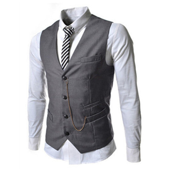 Men's European Style Single Breasted Fitted Vest w/ Quad Pocket Pattern