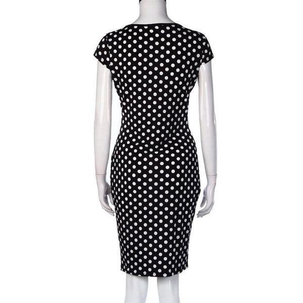 Women's Retro Faux Polka Dot Pencil Style Dress - Erbana 88