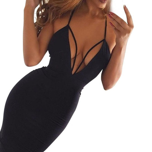 Women's Deep V-Neck Bodyfitting Dress w/ Spaghetti Strap