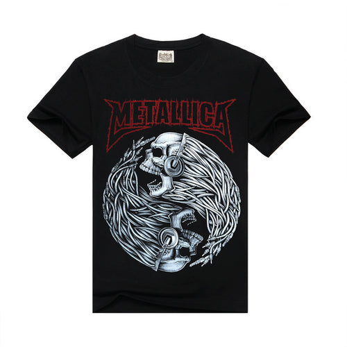 Men's Short Sleeve Metallica Tee w/ Skull Print - Erbana 88