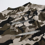 Women's Backless Short Sleeve Hollow Out Cropped Camouflage Tee - Erbana 88