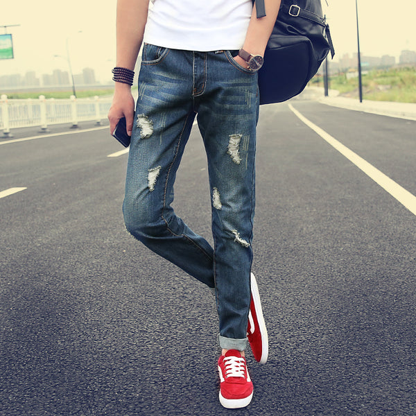 Slim Fit Harem Straight Blue Jeans w/ Designer Ripped Pattern - Erbana 88