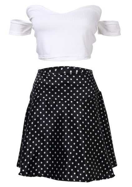 Women's Two Piece Off Shoulder Bodycon Top & High Waist Polka Dot Mini Skirt - Erbana 88