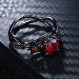 Women's Vintage Stainless Steel Floral Design w/ Red Rhinestone Embellishment - Erbana 88