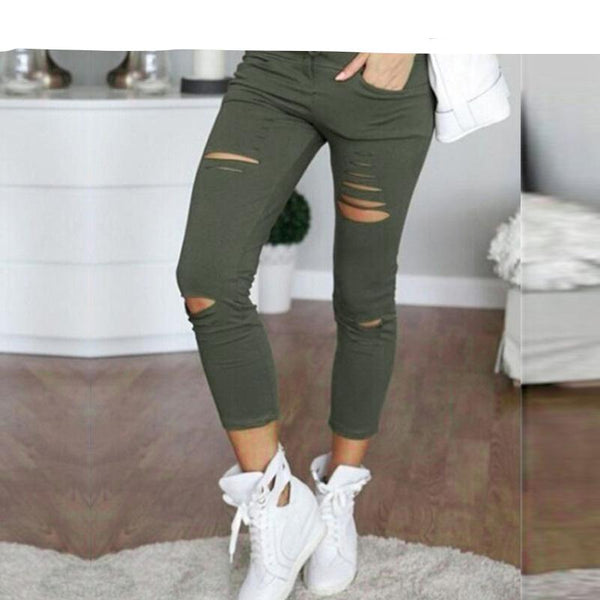 Women's Casual Pleated Ankle Length Pencil Pants w/ Ripped Design - Erbana 88