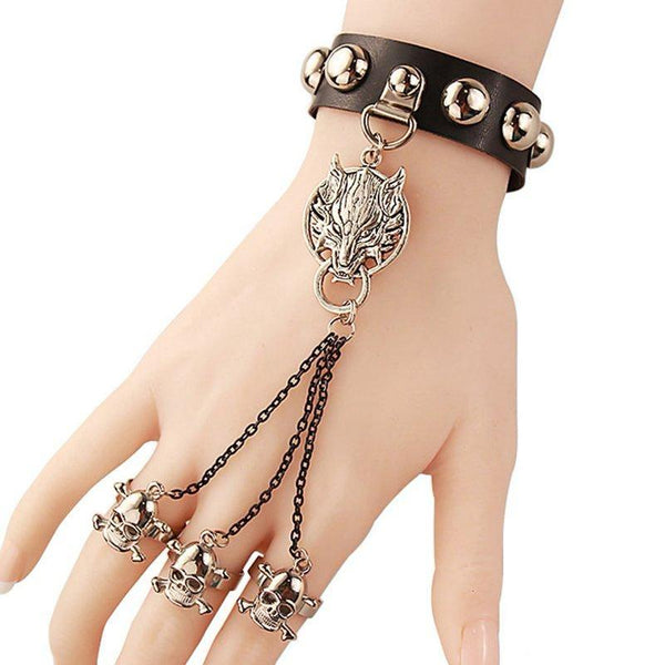 Women's Retro Original Leather Gothic Steampunk Wolfhead & Skull Finger Bracelet - Erbana 88