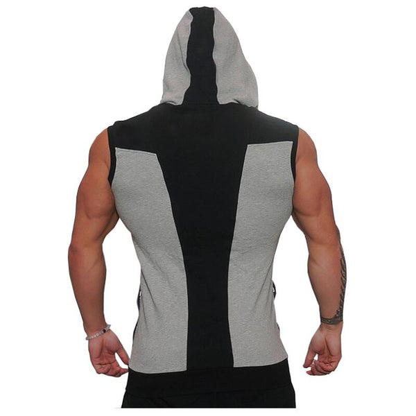 Men's Sleeveless Irregular Zipper Hoodie w/ Patchwork Design & Pocket - Erbana 88