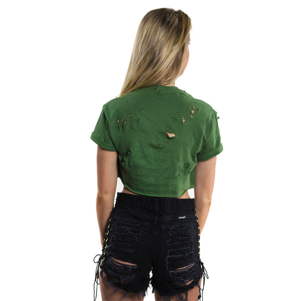 Women's High Waist Ripped Tassel Elastic Lace-Up Bandage Short Jeans