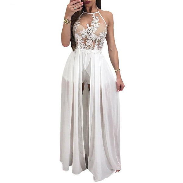 Women's Transparent Chiffon Halter Dress w/ Laced Floral Embroidery