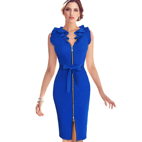 Women's Elegant Pencil Style Zippered Down Dress w/ Ruffled Neckline & Bow - Erbana 88