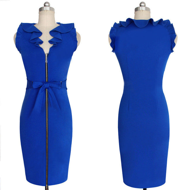 Women's Elegant Pencil Style Zippered Down Dress w/ Ruffled Neckline & Bow