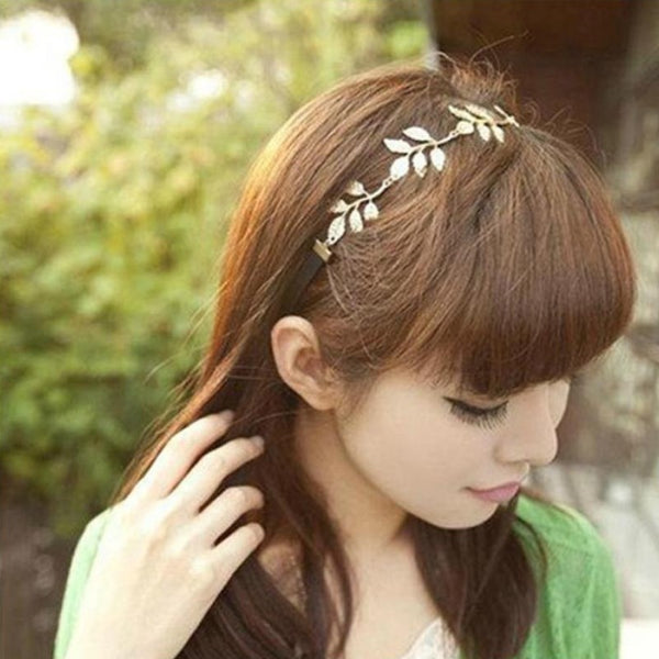 Women's Greek Style Olive Leaf Rhinestone Design Hair Band Accessory - Erbana 88