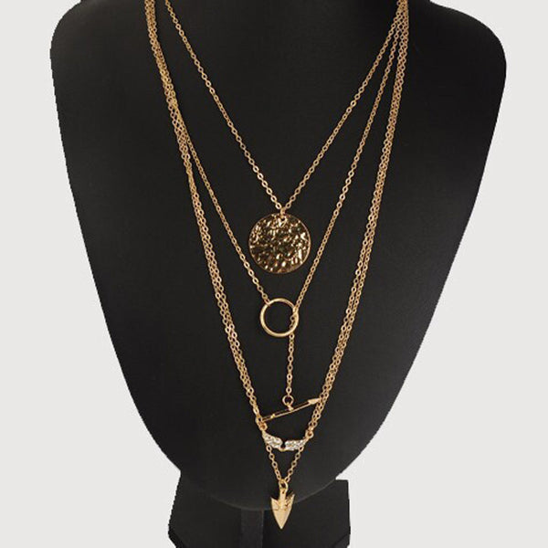 Women's Multi-layer Irregular Crystal Gold Arrow Pendant Statement Necklace - Erbana 88