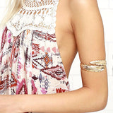 Women's Greek Inspired Vintage Curving Metal Feathers Charm Armband Bracelet - Erbana 88