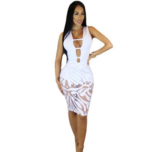 Women's Hollow Out Pencil Style Bandage Dress w/ Mesh Patchwork - Erbana 88