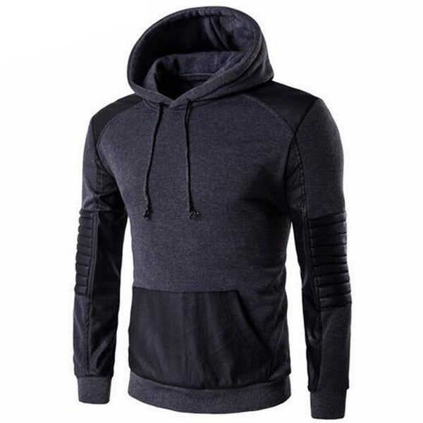 Men's Casual Slim Fit Standard Hoodie w/ Leather Stitching Patchwork - Erbana 88
