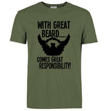 Men's Casual Humorous Short Sleeve 'With Great Beard...' Tee - Erbana 88