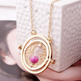 Women's Aluminum Alloy Hourglass Time Turner Necklace w/ Rotating Spheres & Inner Inscription