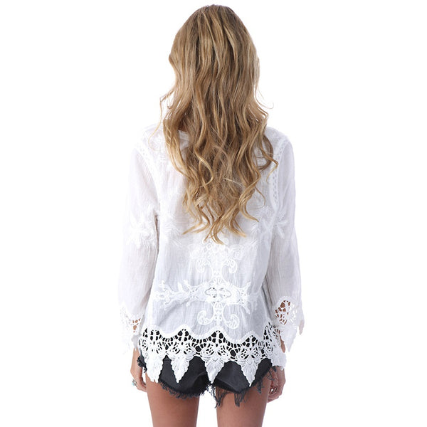 Women's Bohemian Style Laced Blouse w/ Feathered String Finish - Erbana 88