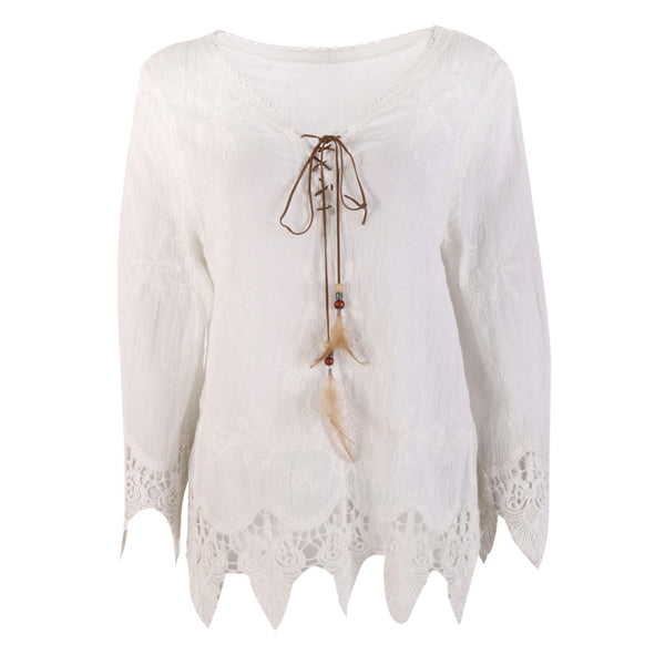 Women's Bohemian Style Laced Blouse w/ Feathered String Finish