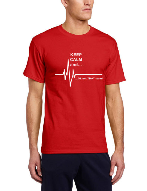Men's Humorous Short Sleeve 'Keep Calm...' ECG Tee - Erbana 88