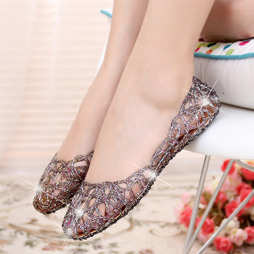 Women's Vintage Style Hollow Out Foldable Shoes w/ Glitter Finish - Erbana 88