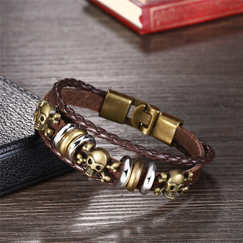 Men's Vintage Braided Rope Genuine Leather Bracelet w/ Skull Design & Metal Alloy Clasp - Erbana 88