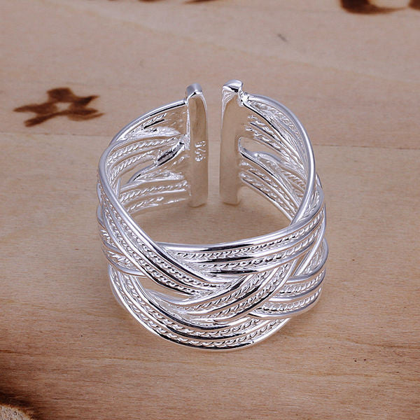 Women's Silver Plated Stainless Steel Ring w/ Intricate Geometric Net Weaving Design