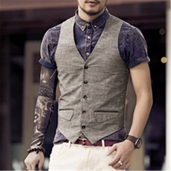Men's High Quality Single Breasted Vest w/ Dual Pockets - Erbana 88