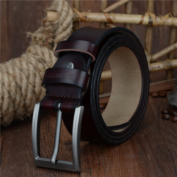 COWATHER Men's Vintage Genuine Leather Luxury Strap Belt w/ Pin Buckle - Erbana 88