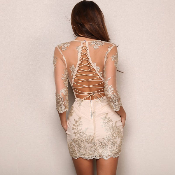 Women's Vintage Hollow Out Bodycon Backless Dress w/ Floral Embroidery - Erbana 88
