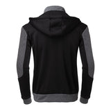 PODOM Full Zip Up Slim Fit Hoodie w/ Patchwork Pattern - Erbana 88
