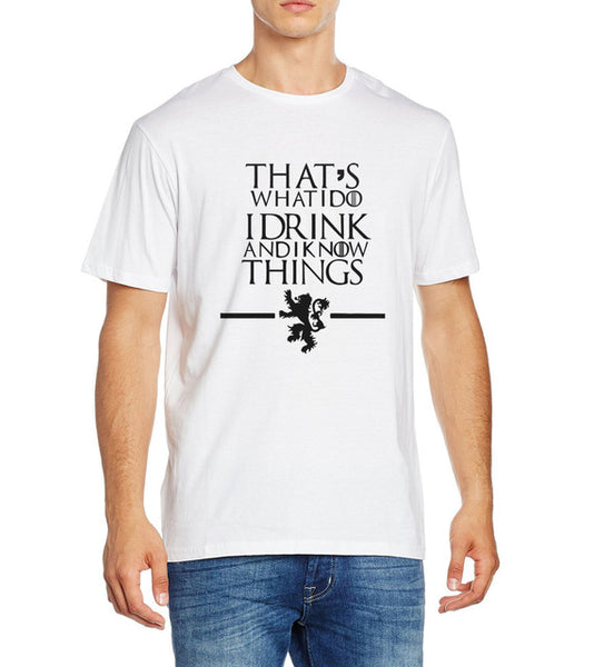 Men's Short Sleeve Game of Thrones Tyrion Lannister 'I Drink and I Know Things' Tee - Erbana 88