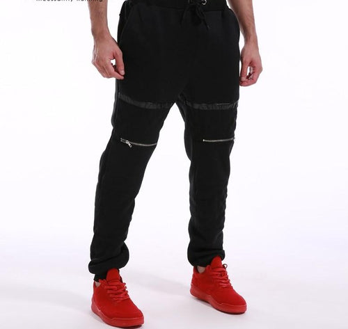 INCERUN Long Baggy Joggers w/ Elastic Waist & Black Horizontal Pattern - Erbana 88