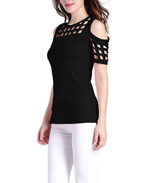 Women's Cut Out Cold Shoulder Short Sleeve Top - Erbana 88