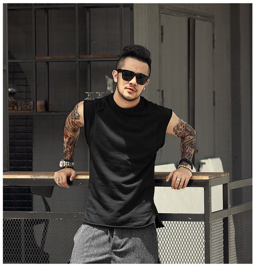 Men's Urban Style Sleeveless Unhemmed Pattern Tee - Erbana 88