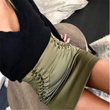 Women's Chic Lace Up High Waist Pencil Skirt w/ Cross Bandage Design