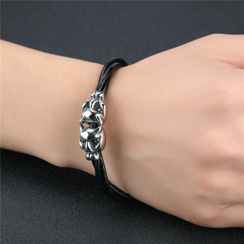 Men's Punk Style Leather Rope Chain Bracelet w/ Stainless Steel Leopard Head & Magnetic Buckle - Erbana 88