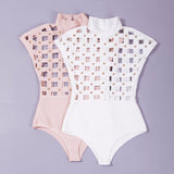 Women's Bandage Style Bodysuit w/ Hollow Out Rivet Design